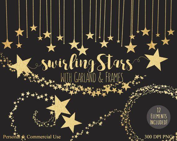 black /& gold Star Whirls 3//Pkg