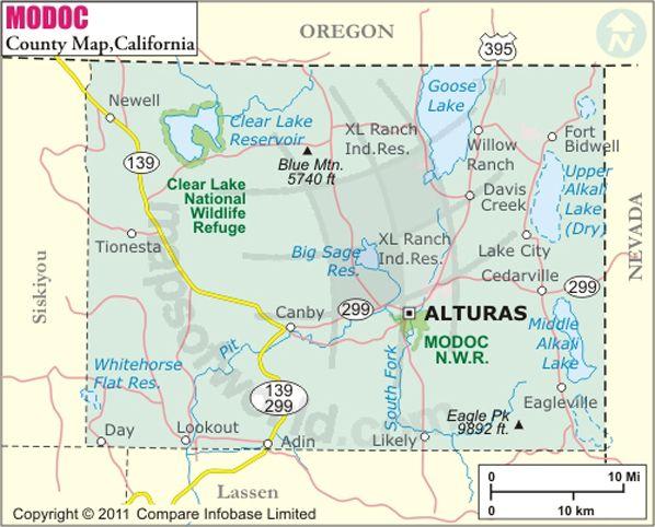 Modoc County Map | California | County map, California map, Map