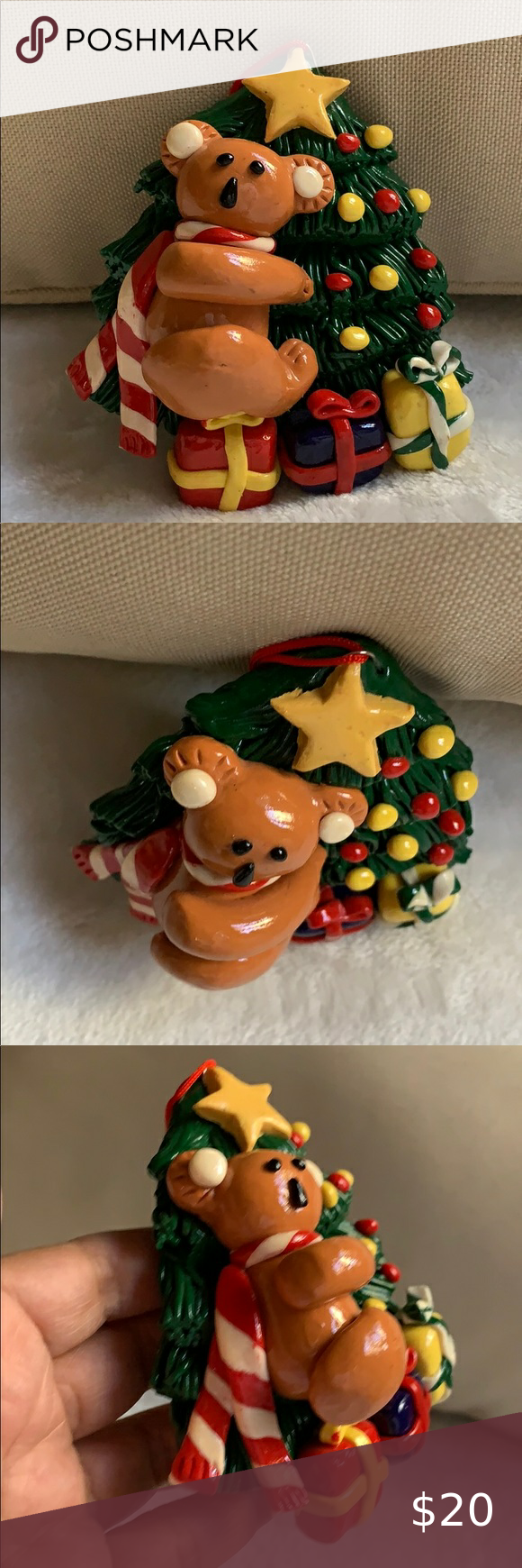 "4"" clay koala 🐨 bear on Christmas tree ornament in 2020"