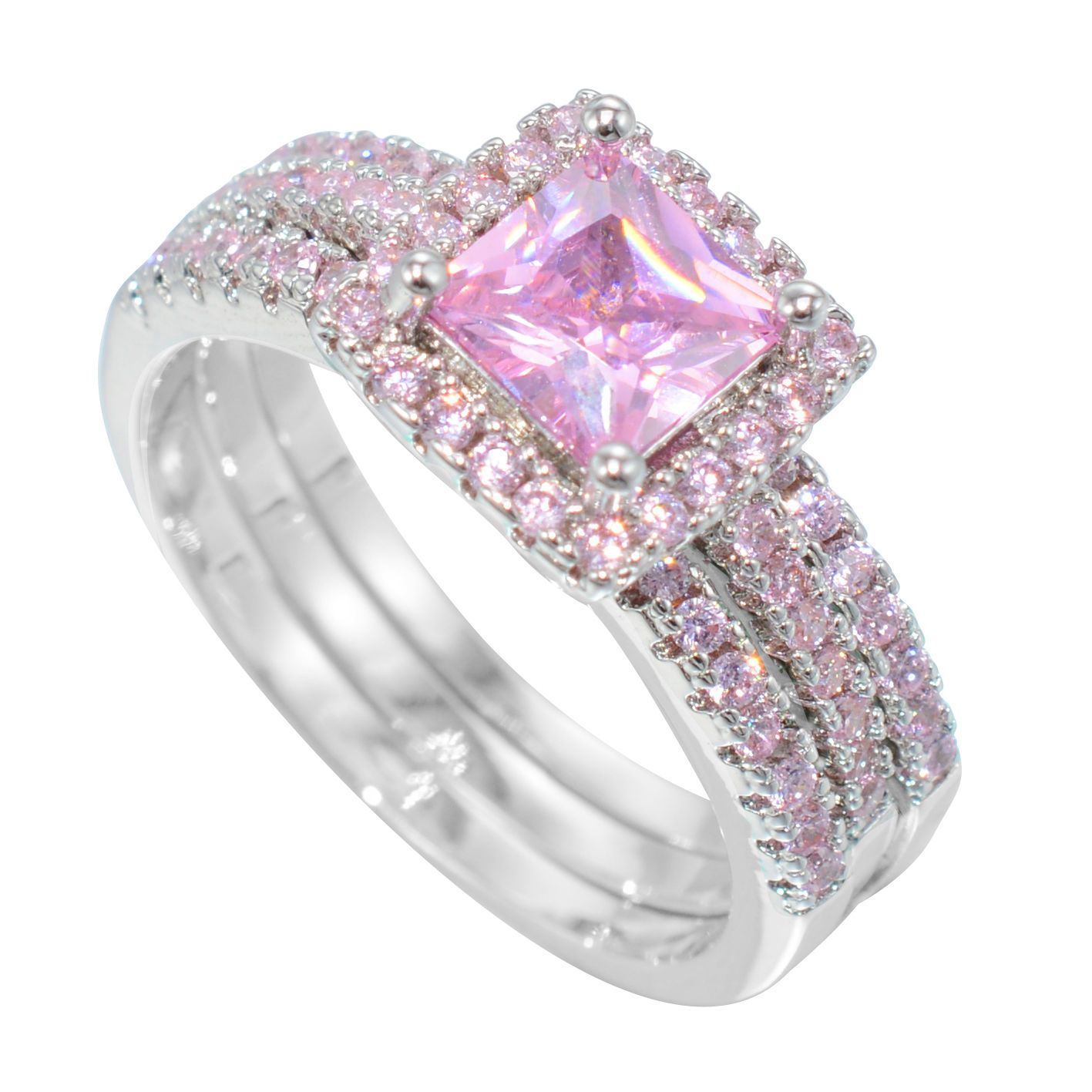 Size 7 Fashion Pink Sapphire White Gold Filled Engagement