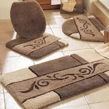 Ideas Large Bathroom Rugs Carpet Design With Brown And Cream Colors Ceramic Pattern