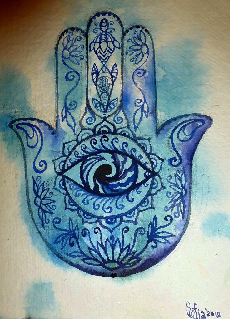 Blue Artsy Stuff Hamsa Hands Healing Hands Tattoo Good Vibes Eye