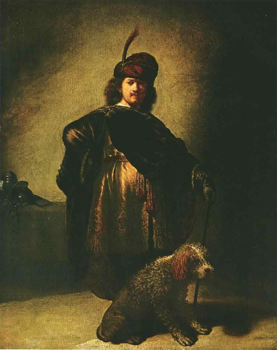 Rembrandt Self Portrait in Oriental Costume with Dog, 1631.