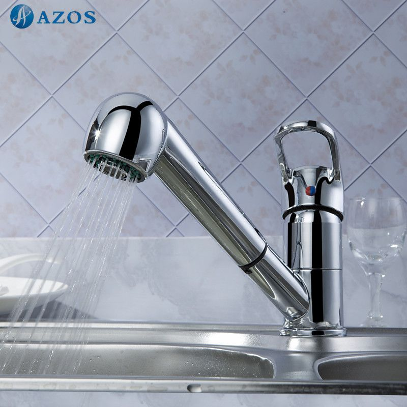 Kitchen Sink Faucets Swivel Hose Shower Head Pull Out Down Spray ...