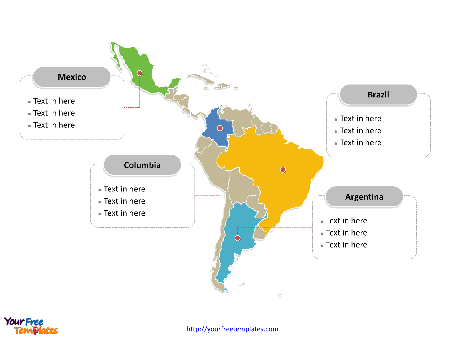 Immediately Free Download Editable Latin America Outline