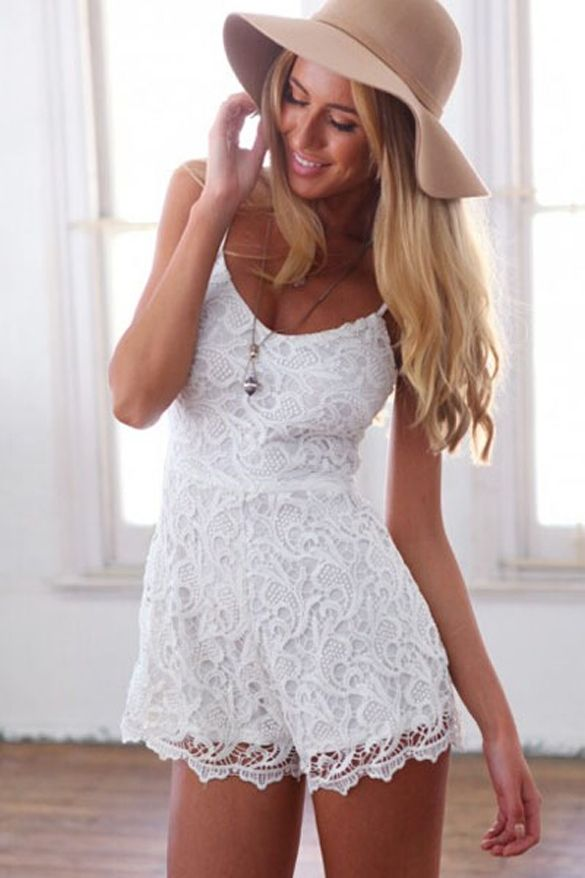 005dfe443c New Stylish Ladies Women Sexy Floral Crochet Spaghetti Strap Hollow Out  Backless Bodycon Jumpsuit