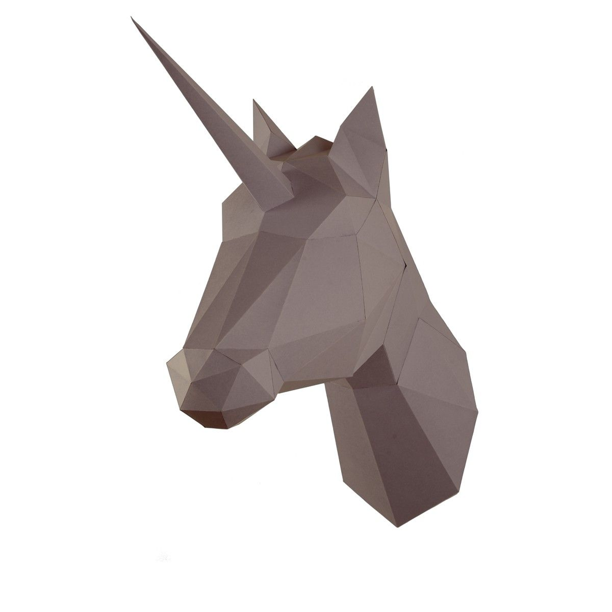 Troph e origami en papier licorne marron d co for Decoration murale tete animaux