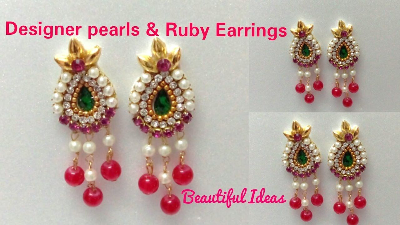 DIYHow to make Designer Pearls Rubies Earrings Made Out Of Paper