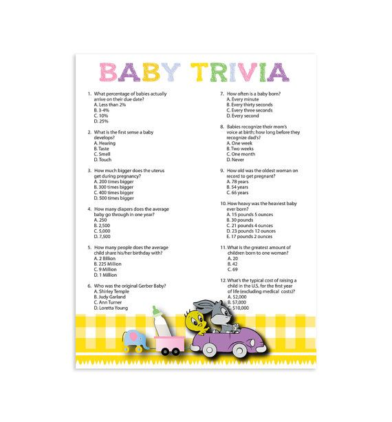 Baby Trivia Baby Shower Game, Gender Neutral Baby Shower