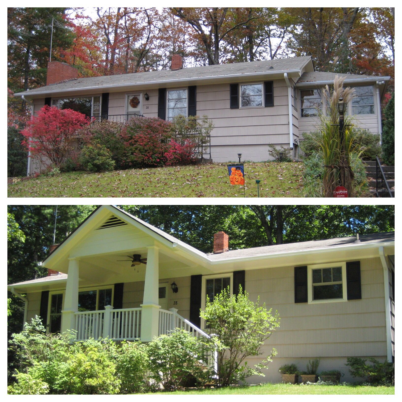 Before And After Adding A Covered Porch To A Basic Ranch House