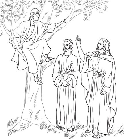 Jesus Meets Zacchaeus Coloring Page