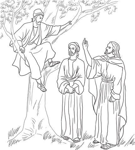 Jesus Meets Zacchaeus coloring page from Jesus Mission