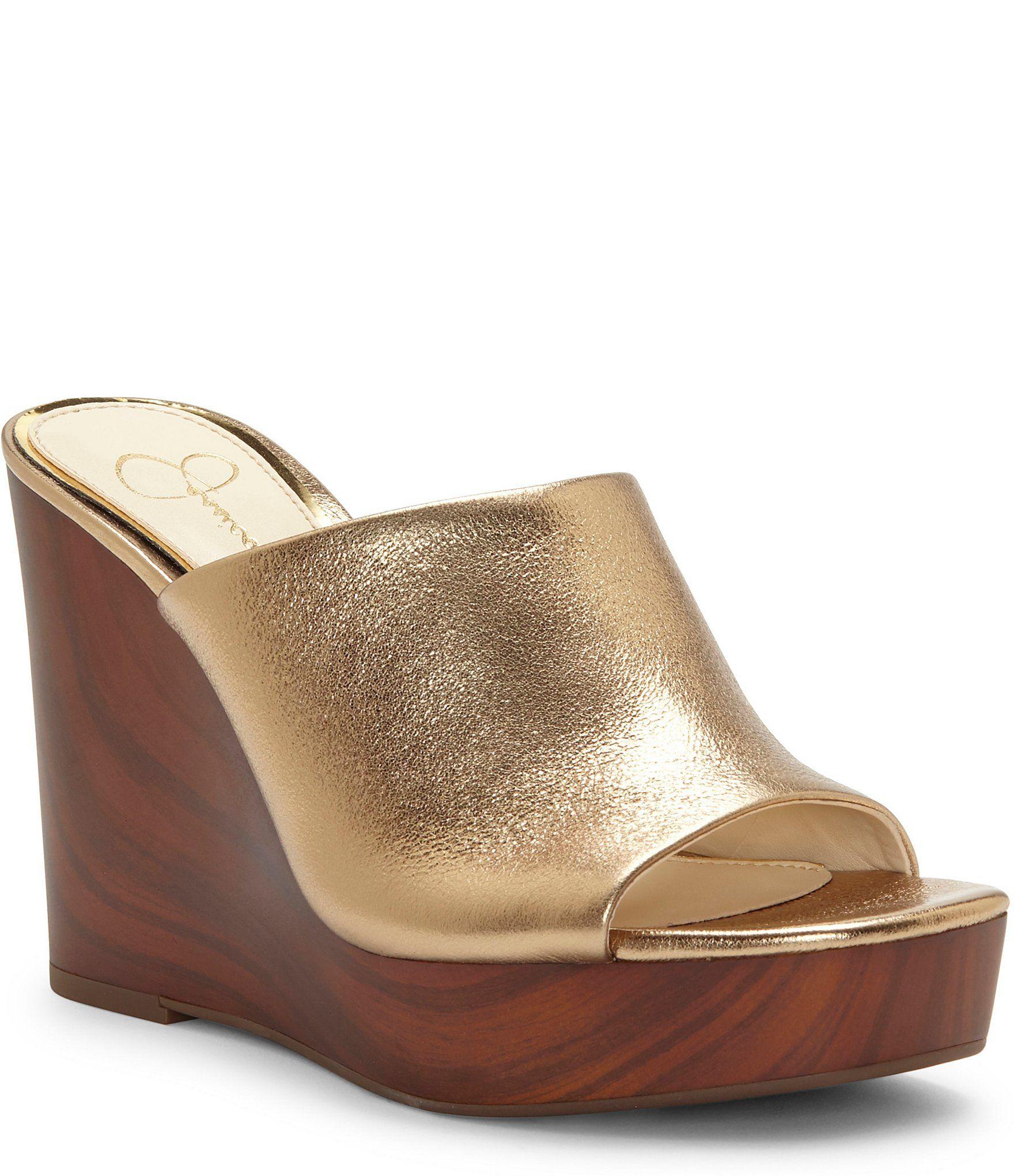Jessica Simpson Shantelle Metallic Leather Square Toe Slide Wedges | Dillard's