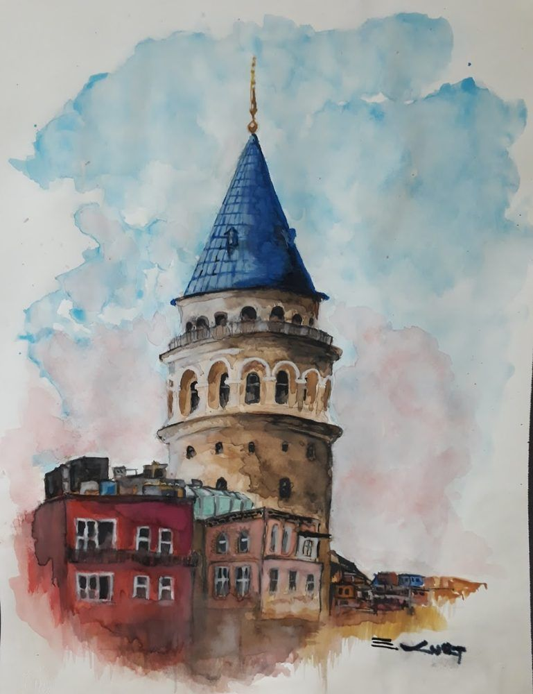 Galata Tower Canvas Art Prints Acrilic Paintings Watercolor Art