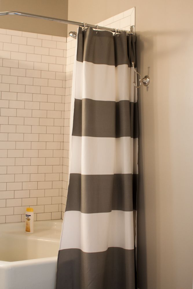 grey white striped shower curtain. Wood Smoke by Glidden Brilliance Collection paint at walmart  Shower Curtain West Elm