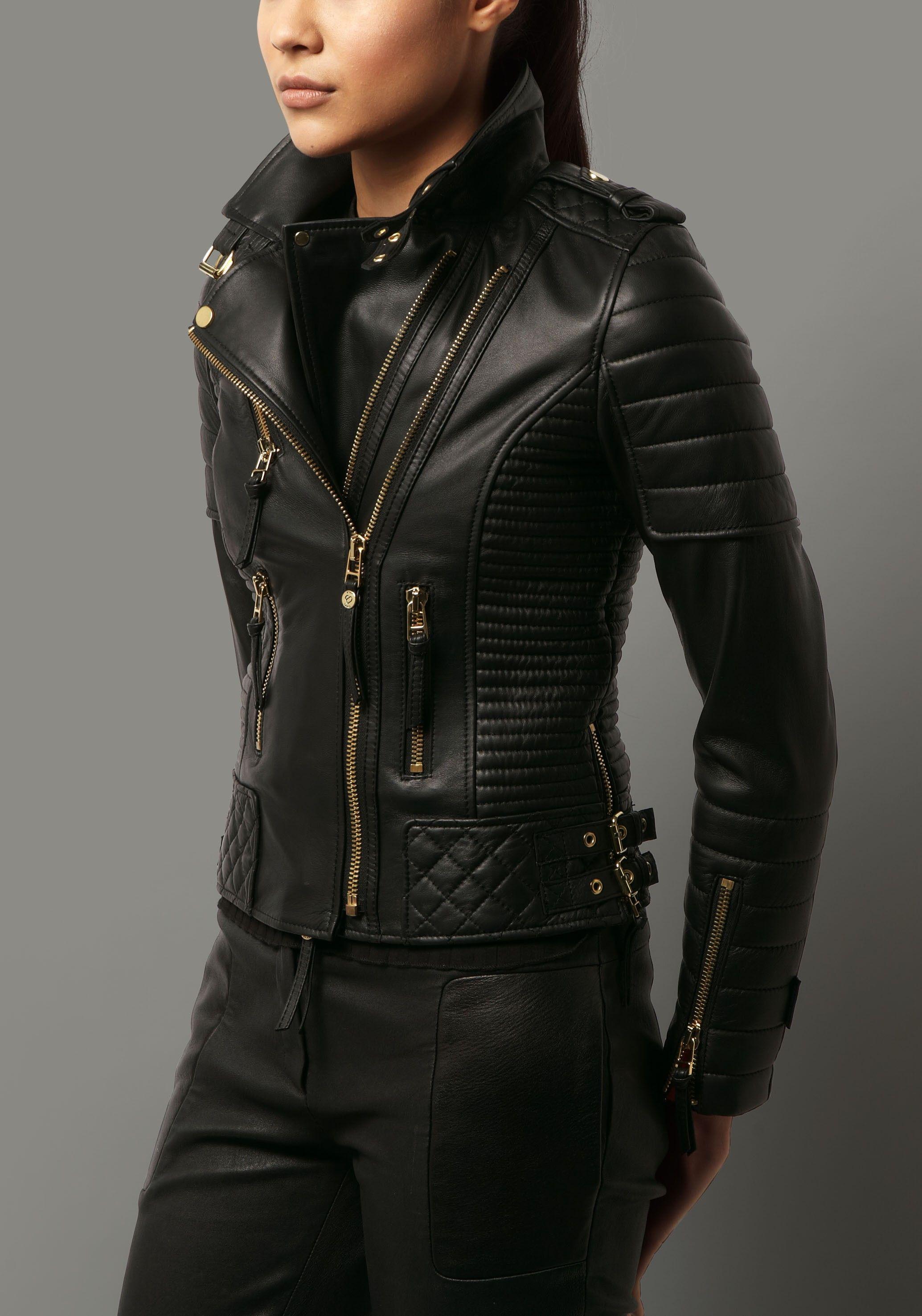5541edcd09e Kay Michaels Quilted Biker V.2 (Gold Hardware) Lambskin Leather Jacket