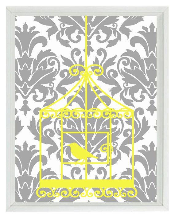 Birds Wall Art Print - Yellow Gray Decor Damask Bird Cage - Modern ...