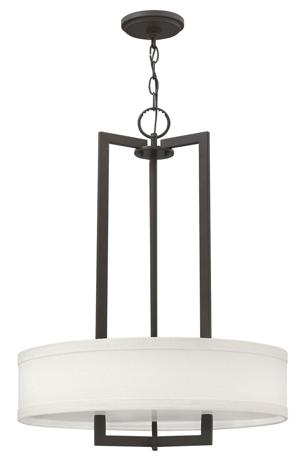 Contemporary Craftsman Chandelier In Brushed Bronze Finish With Off White Linen Shade From The Hampton Collection By Hinkley Lighting