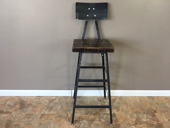 Reclaimed urban wood seating industrial bar stool chair by barnxo