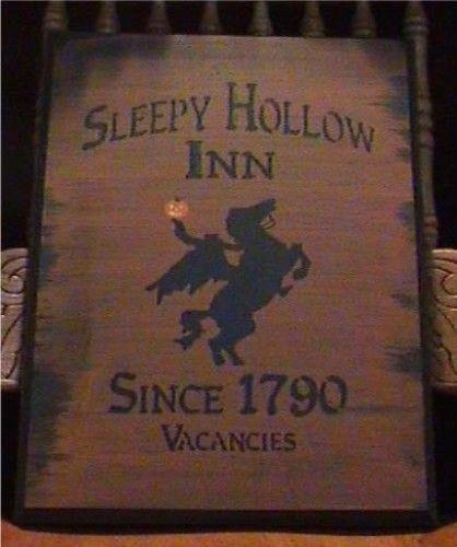 primitive sleepy hollow inn sign folk art primitives witch halloween signs headless horseman props colonial horses