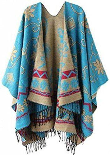 PIN Femme Manteau Cape Echarpe Epaisse Poncho Foulard Chaud Hiver avec  Franges (135 170,Bleu) f43cd342356
