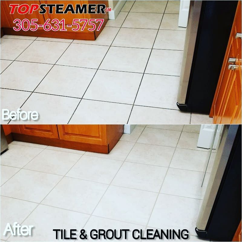 Before and after picture of tile and grout cleaning