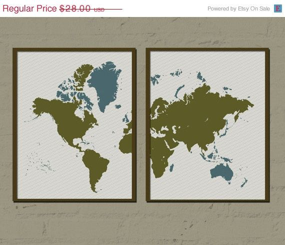 World poster two worlds one 8x10 inches set of 2 world map world poster two worlds one 8x10 inches set of 2 world map artwork gumiabroncs Gallery