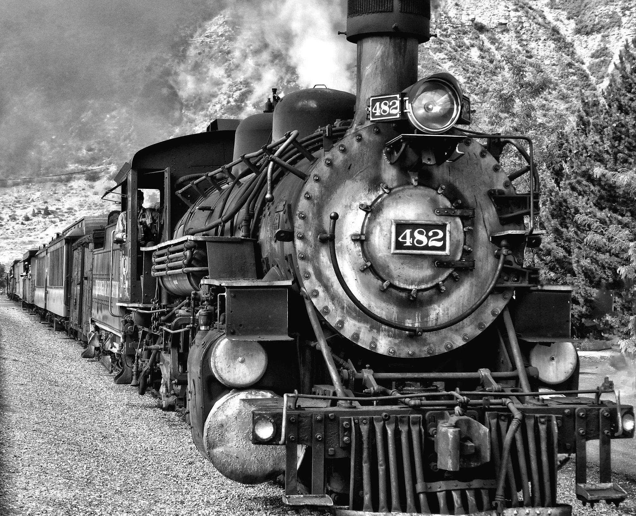 The narrow gauge railroad leaving the station at Durango, Colorado