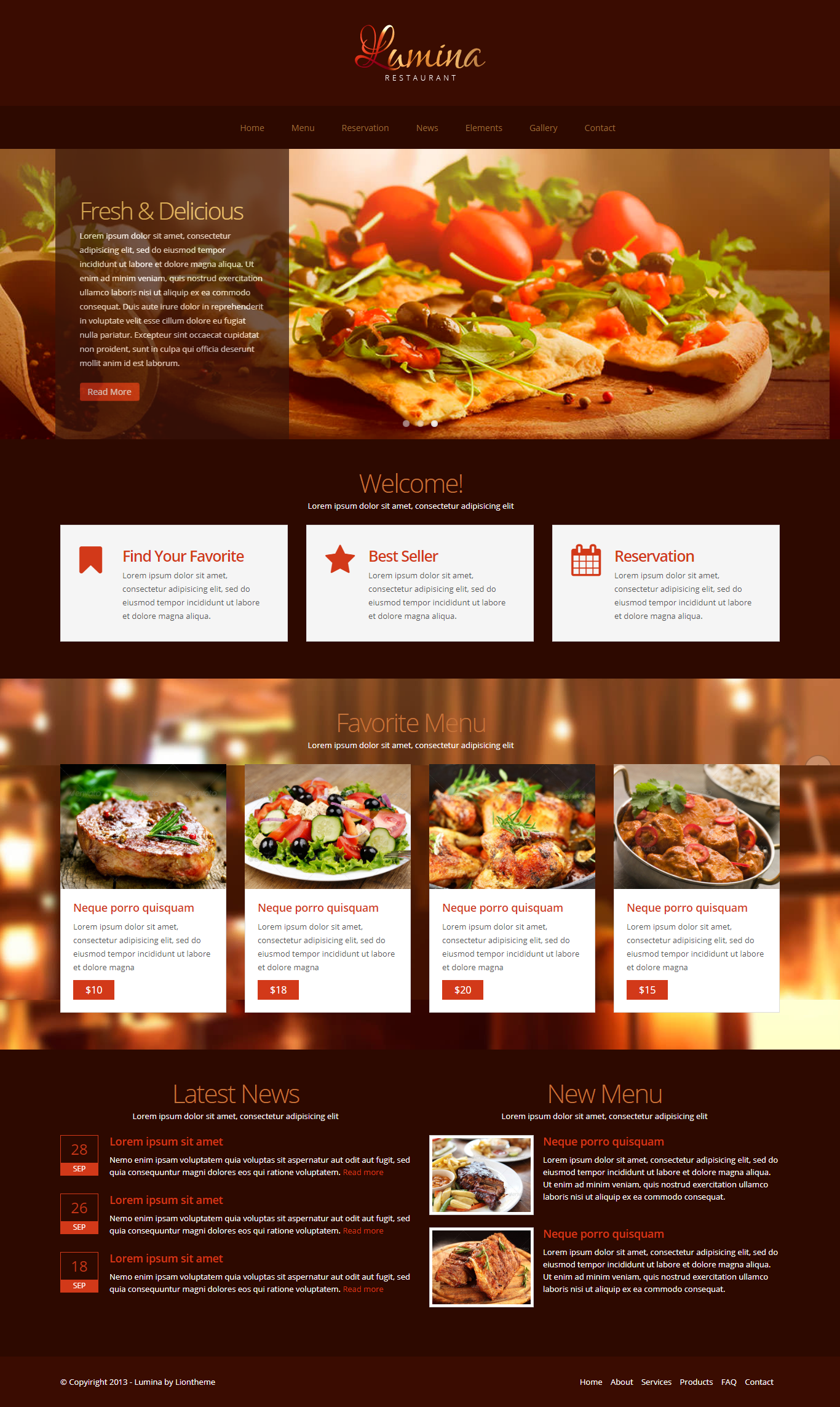 Lumina - Responsive Restaurant Website Template  #clean #clear #css3