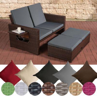 flexibles Poly-Rattan 2er Lounge-Sofa ANCONA, ALU-Gestell - lounge gartenmobel gunstig