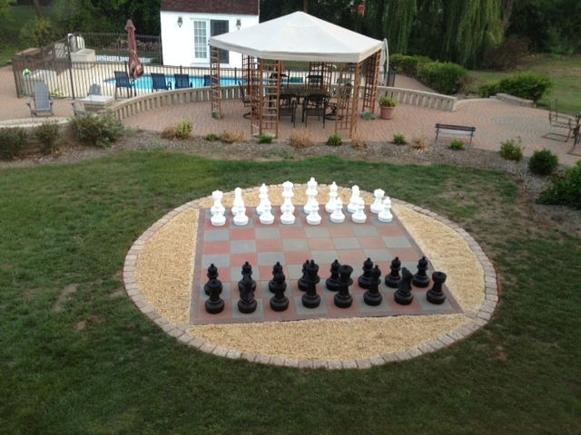 Giant Outdoor Chess Set! Family Fun. Pieces purchased on Amazon and tiles from Home Depot.