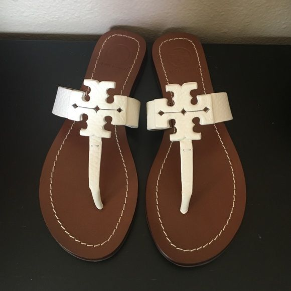 c991ec1119c6b1 BNWB- Tory Burch Ivory thong sandal BNWB- Tory Burch ivory color- Moore flat  thong- Elba tumbled leather. Size is 5.5 Tory Burch Shoes Sandals