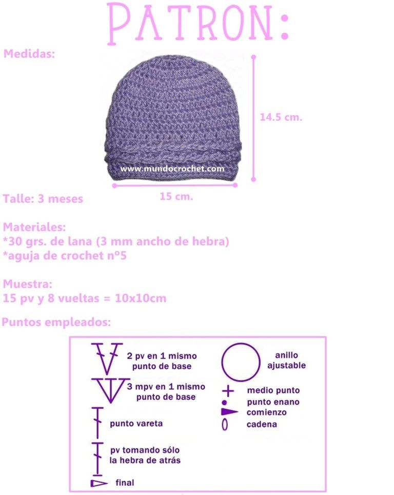 Patron gorro simple para bebe a crochet o ganchillo | gorro ...