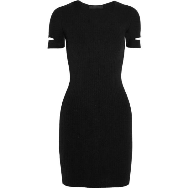 Alexander Wang Cutout stretch-knit mini dress (70.185 RUB) ❤ liked on Polyvore featuring dresses, dresses/gowns, black, cutout dress, short dresses, black sleeve dress, cutout mini dress and cut out mini dress