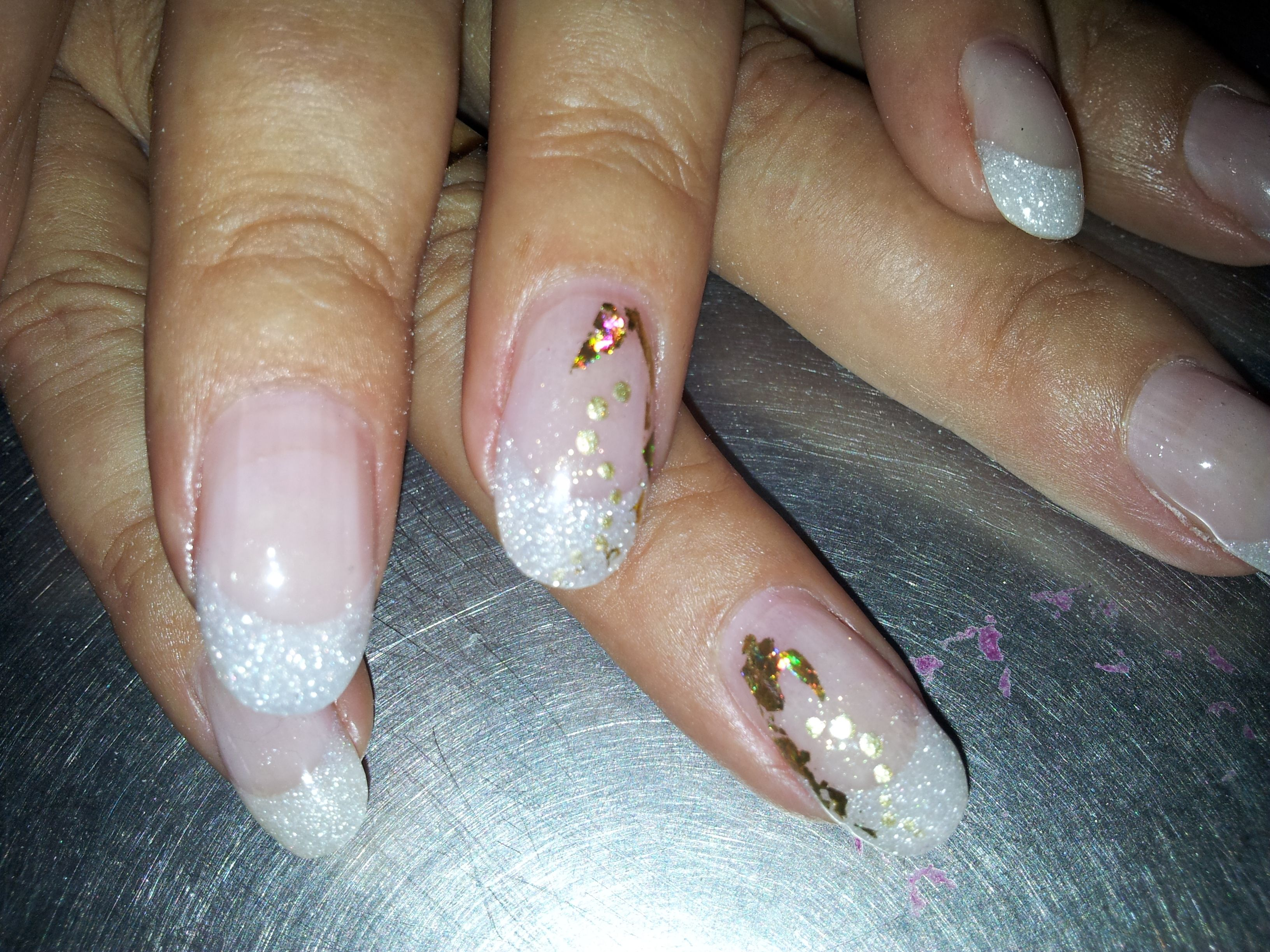 CND Liquid & Powder Twilight sculptured nails with Shellac Gold VIP ...
