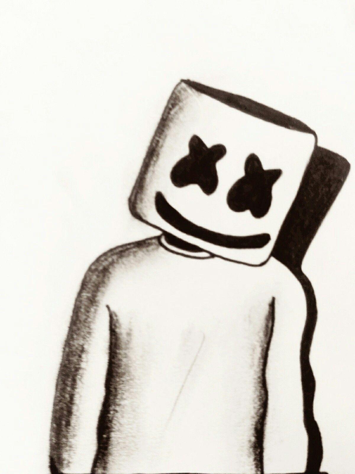 Marshmello Drawing My Drawings In 2019 Pencil Art