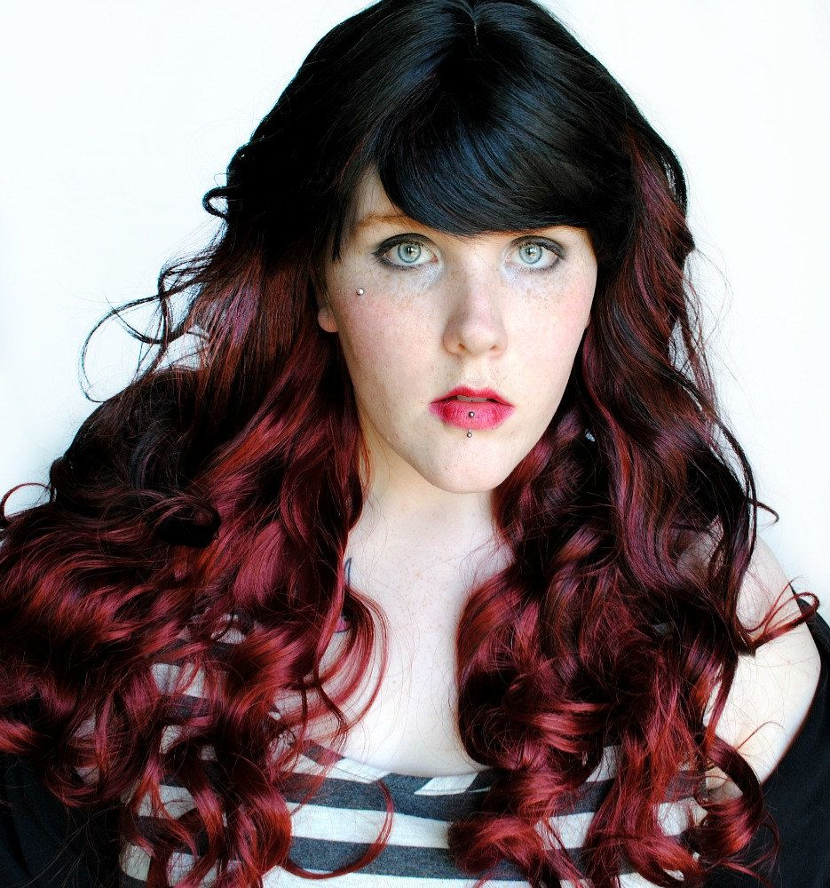 Ruby flame wig ombre black brown red auburn curly long lolita