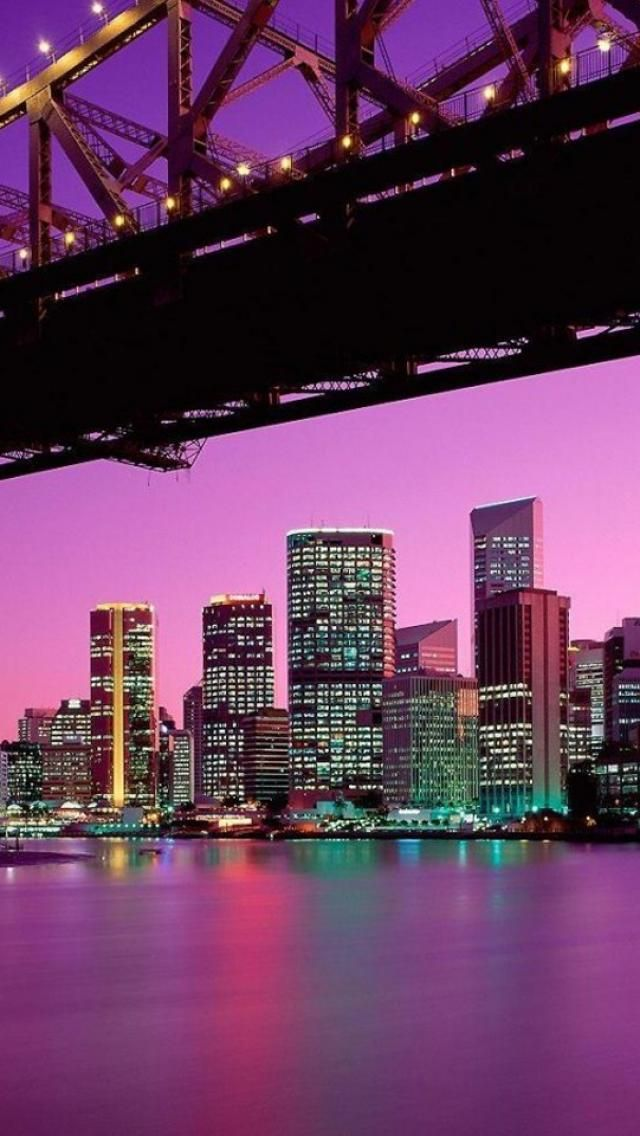 Wallpapersget Com Purple City City Landscape City Lights