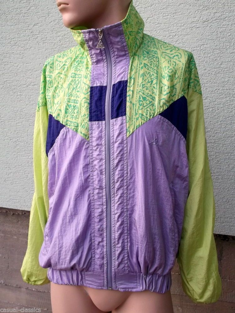 989833d3bc Vintage Retro Style KAPPA Tracksuit Top Jacket NEON Bright UK Medium mens  RARE