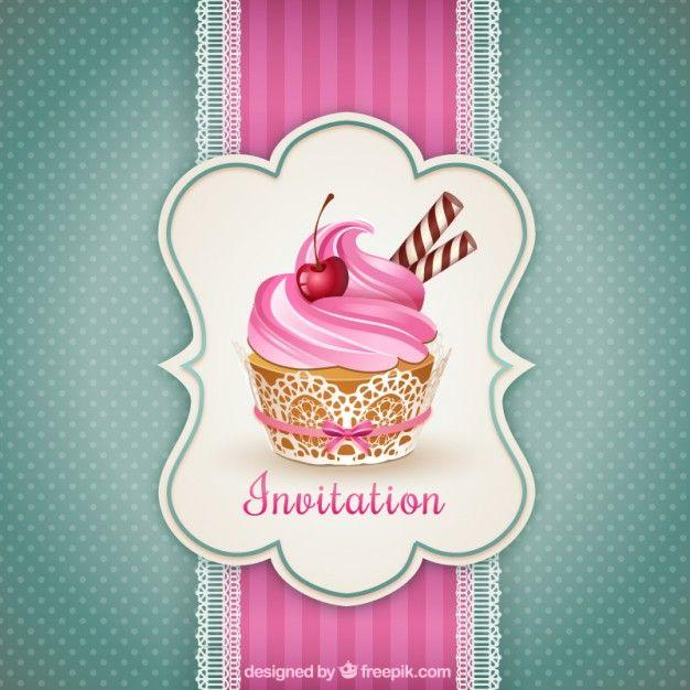 Convite Do Queque Cupcake InvitationsInvitation CardsVintage Birthday InvitationsVintage CardsLogo InspirationDelicious