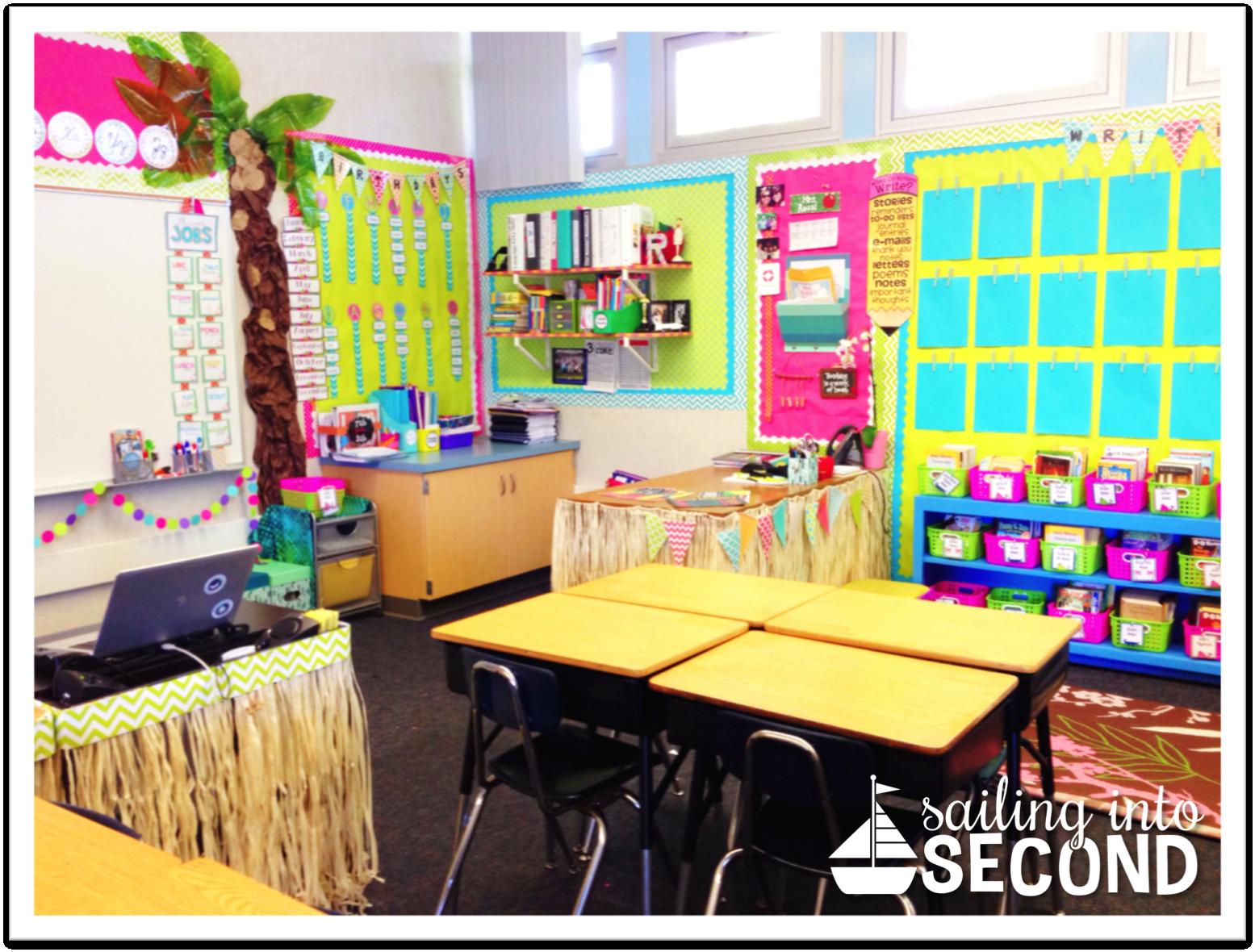 Sailing into Second — beach themed classroom using Creative Teaching Press Goodies!