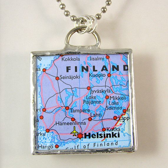 Finland Map Pendant Necklace by XOHandworks $20
