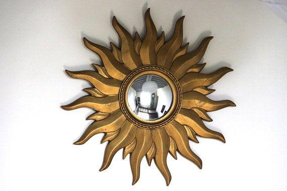 Vintage French Gold Sunburst Mirror Mid Century Starburst