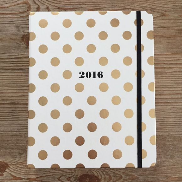 Kate Spade 2015-2016 Large agenda Brand new, never used, Aug 2015-Dec 2016 agenda. Gold polka dot print cover, encloses with elastic band.  ☘ONE DAY ONLY SALE☘  Please do not ask if this is the lowest, it is, and will not go any lower or do free ship. Thank you!  NO FREE SHIP PRICE IS FINAL  ✨Take a look at other items in my closet, I have a lot of Kate Spade items.  ✨Posting new stuff every week kate spade Accessories