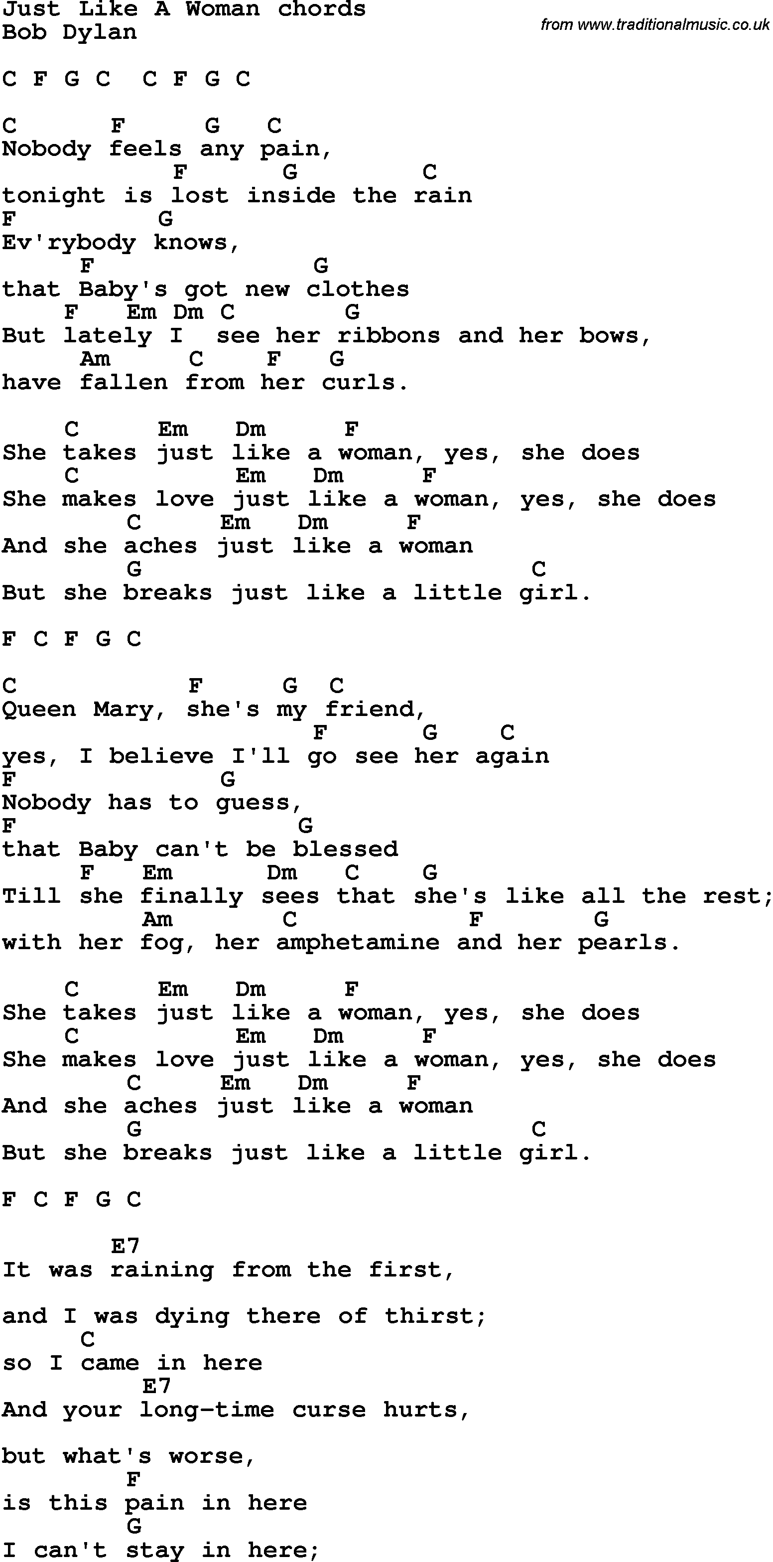 Song Lyrics With Guitar Chords For Just Like A Woman Songwriters