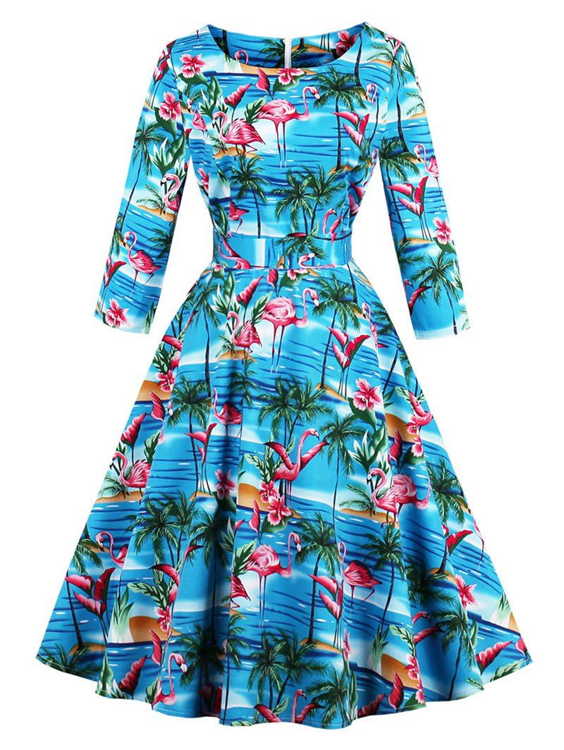 611a3418a14 Rosegal - Vintage Flamingo Print Skater Fit and Flare Swing Dress ...