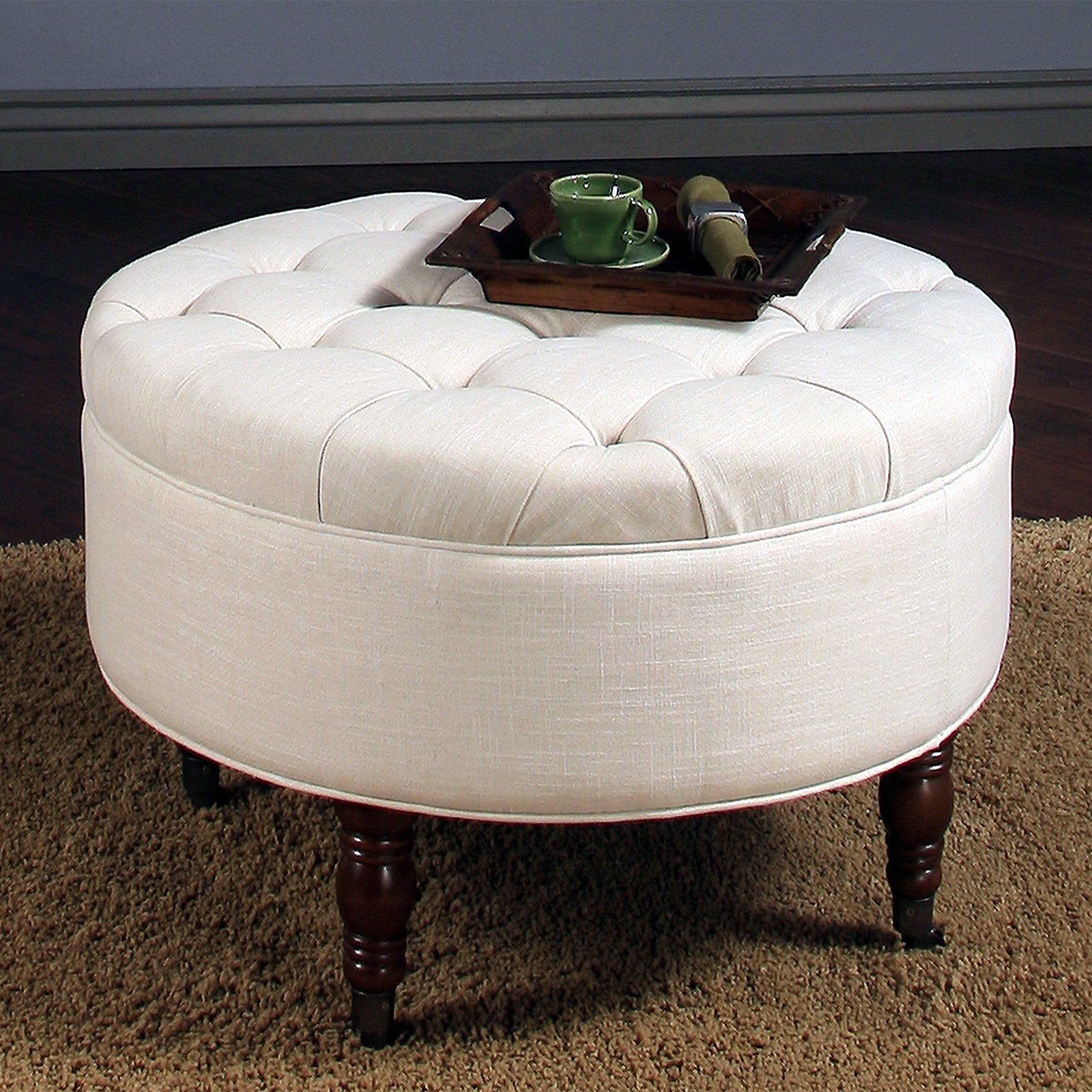 Cool Abbyson Avernce Round Tufted Ottoman White Furniture Gmtry Best Dining Table And Chair Ideas Images Gmtryco