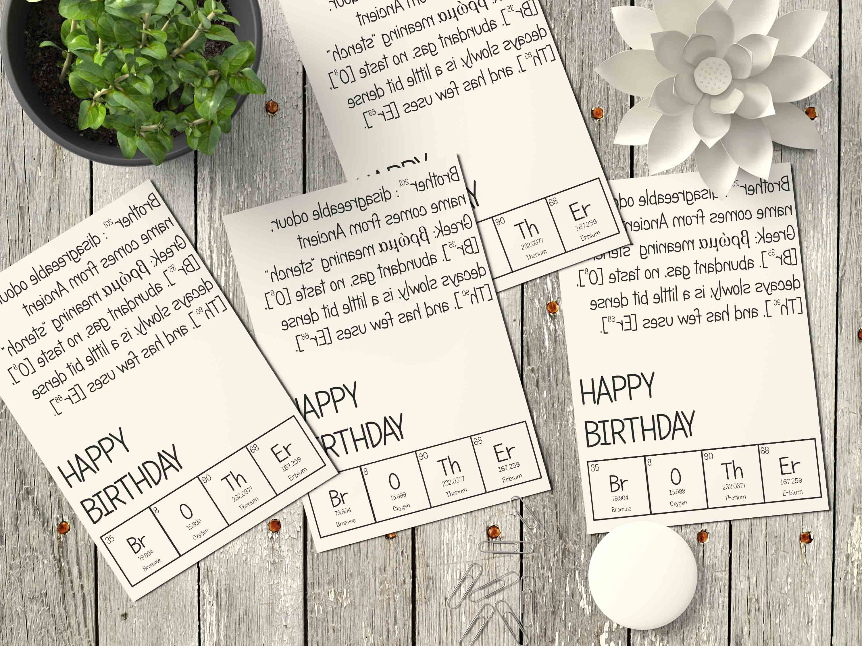 birthday card for brother with periodic elements formation on it