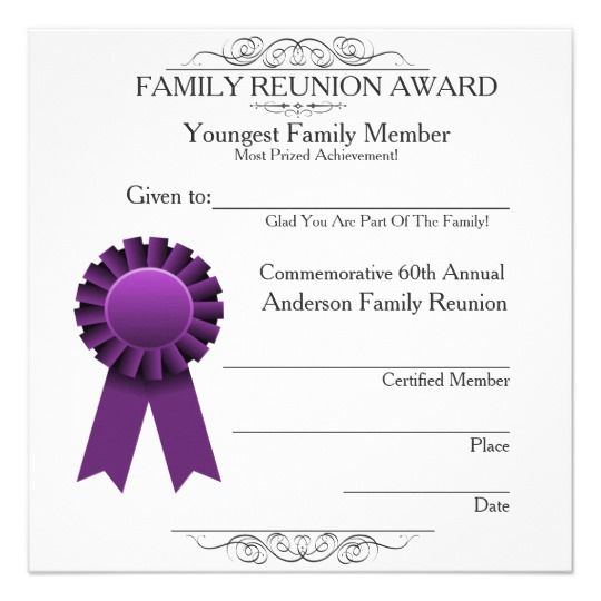 Ribbon Youngest Family Reunion Awards Template