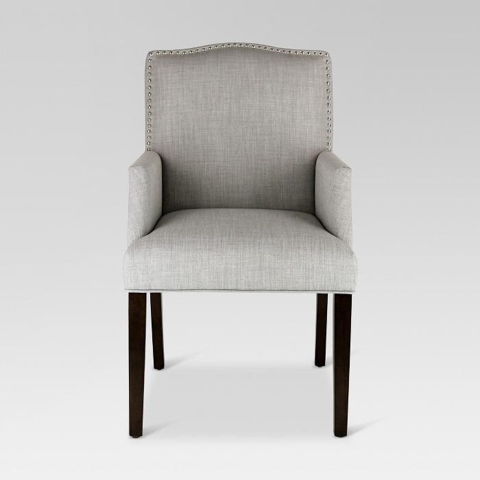 Swell Camelot Nailhead Dining Captain Chair Dove Gray Andrewgaddart Wooden Chair Designs For Living Room Andrewgaddartcom
